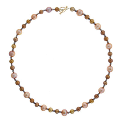 Womens Genuine Multi Color Cultured Freshwater Pearl 14K Gold Beaded Necklace