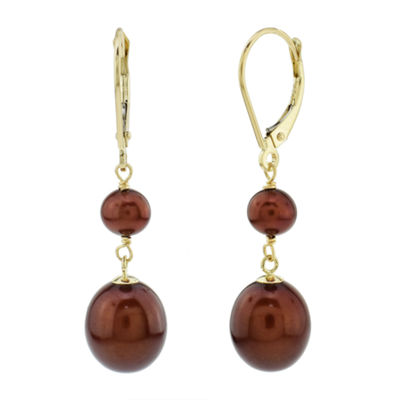 Genuine Brown Cultured Freshwater Pearl 14K Gold Drop Earrings