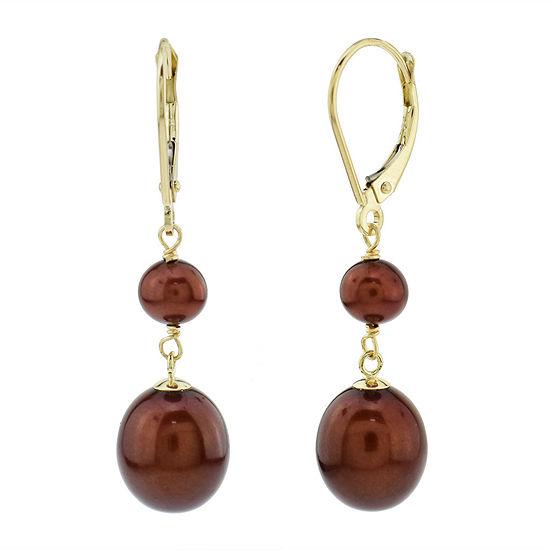 Genuine Brown Cultured Freshwater Pearl 14K Gold Drop Earrings