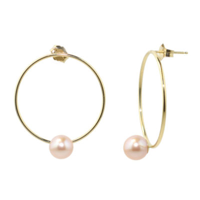 Pink Pearl 14K Gold Drop Earrings