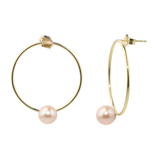 Pink Cultured Freshwater Pearl 14K Gold Drop Earrings