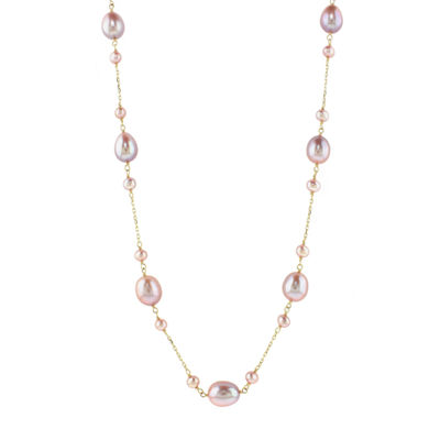 Womens Pink Cultured Freshwater Pearl 14K Gold Beaded Necklace