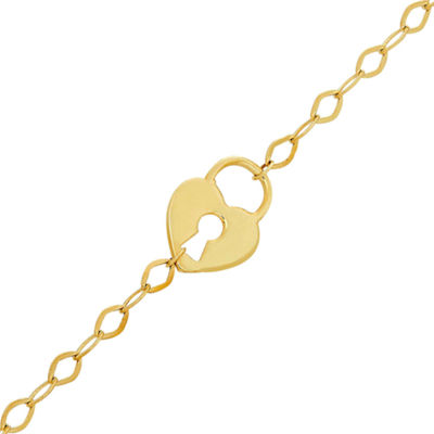 14K Gold 10 Inch Solid Cable Keys Ankle Bracelet
