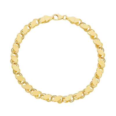 14K Tri-Color Gold 7.5 Inch Hollow Link Link Bracelet