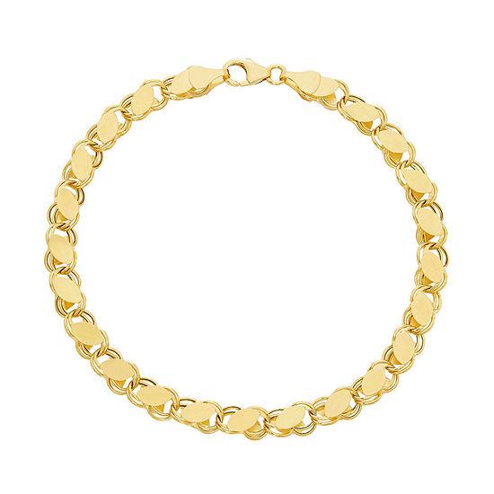 14K Tri-Color Gold 7.5 Inch Hollow Link Link Bracelet
