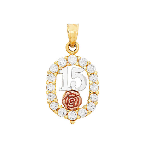 Womens White Cubic Zirconia 14K Gold Pendant