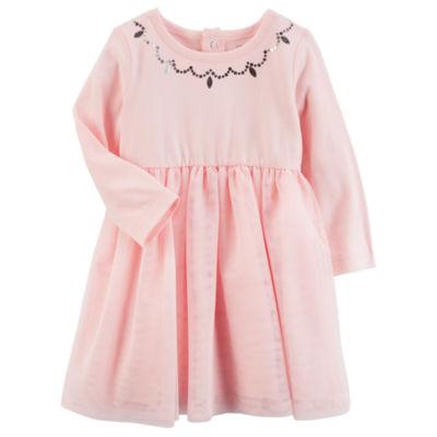 Carter's Long Sleeve Dots A-Line Dress - Baby Girls