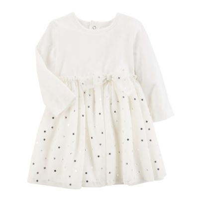 Carter's Long Sleeve Dots A-Line Dress - Baby Girls