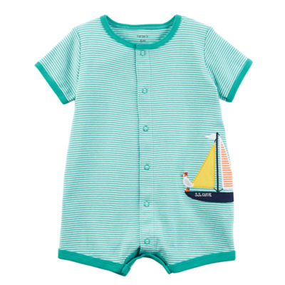 Carter's Stripe Sailboat Short Sleeve Creeper - Baby Boy
