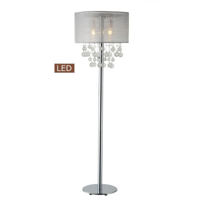 "TENBURY WELLS Charlotte 61"" Modern Chrome LED Floor Lamp With Bubbles Glass Balls"