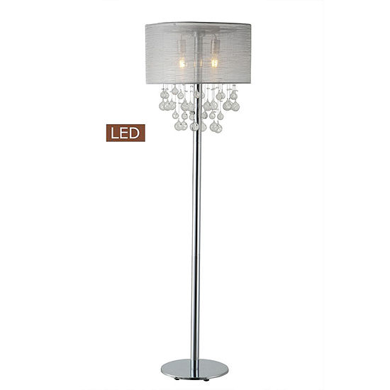 "TENBURY WELLS Charlotte 61"" Modern Chrome LED Floor Lamp With Bubbles Glass Balls"
