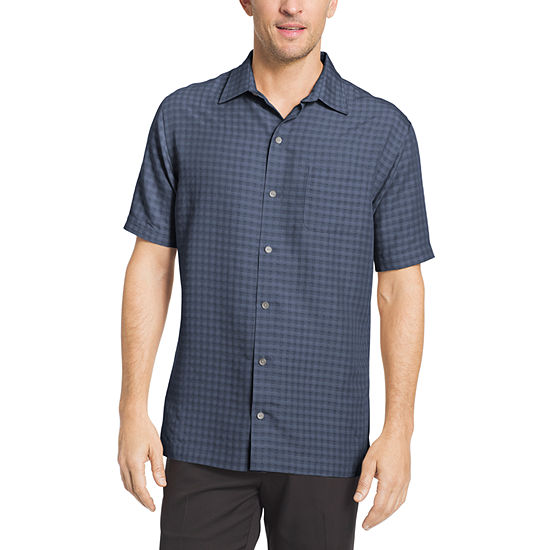 Van Heusen Mens Short Sleeve Grid Button Front Shirt Slim