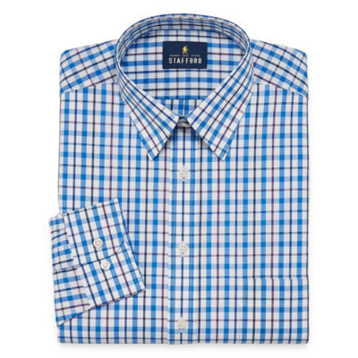 Stafford Travel Performance  Super Shirt Long Sleeve Broadcloth Plaid Dress Shirt