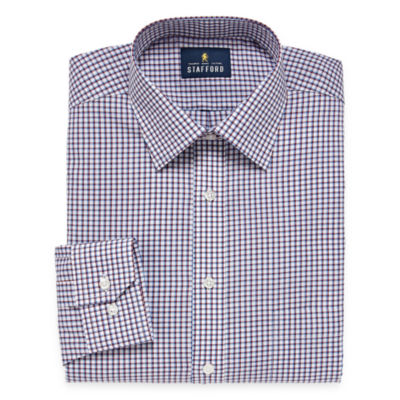 Stafford Travel Easy Care Broadcloth Mens Spread Collar Long Sleeve Wrinkle Free Stretch Dress Shirt