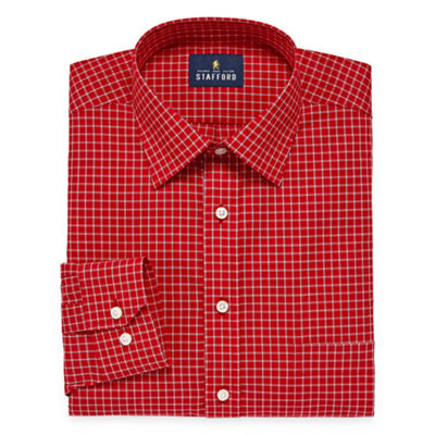 Stafford Travel Easy-Care Broadcloth Long Sleeve Checked Dress Shirt