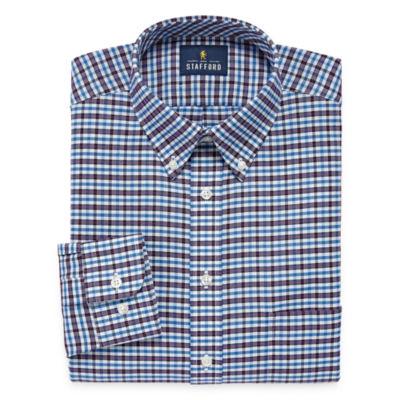 Stafford Travel Wrinkle Free Oxford Long Sleeve Plaid Dress Shirt