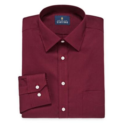 Stafford Travel Easy-Care Broadcloth Big And Tall Long Sleeve Broadcloth Dress Shirt