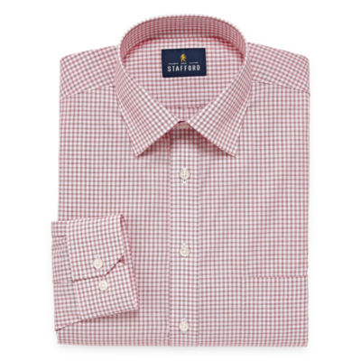 Stafford Travel Easy-Care Broadcloth Big And Tall Long Sleeve Checked Dress Shirt