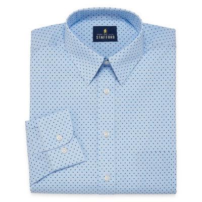 Stafford Travel Performance  Super Shirt Big And Tall Long Sleeve Broadcloth Geometric Dress Shirt
