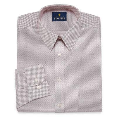 Stafford Travel Performance  Super Shirt Long Sleeve Broadcloth Geometric Dress Shirt