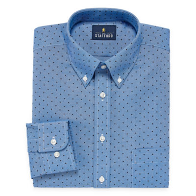 Stafford Travel Wrinkle Free Oxford Long Sleeve Dots Dress Shirt