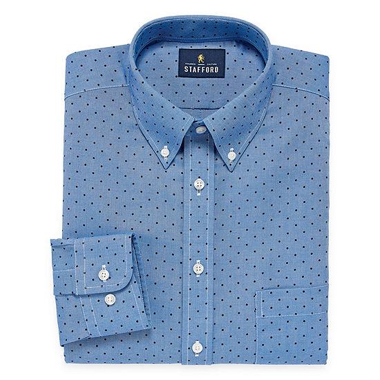 Stafford Travel Wrinkle Free Oxford Long Sleeve Dots Dress Shirt