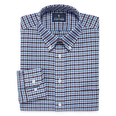 Stafford Travel Wrinkle Free Oxford Long Sleeve Plaid Dress Shirt Jcpenney