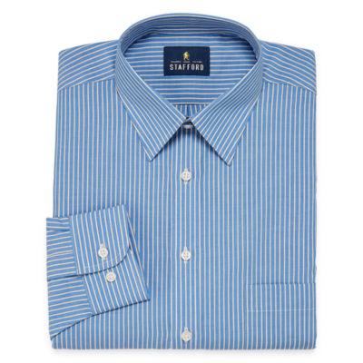 Stafford Travel Performance  Super Shirt Long Sleeve Broadcloth Stripe Dress Shirt