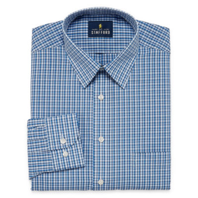 Stafford Travel Performance  Super Shirt Long Sleeve Broadcloth Grid Dress Shirt