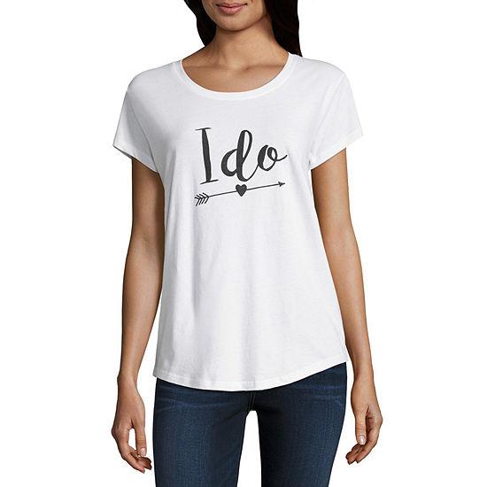 City Streets-Womens Scoop Neck Short Sleeve T-Shirt