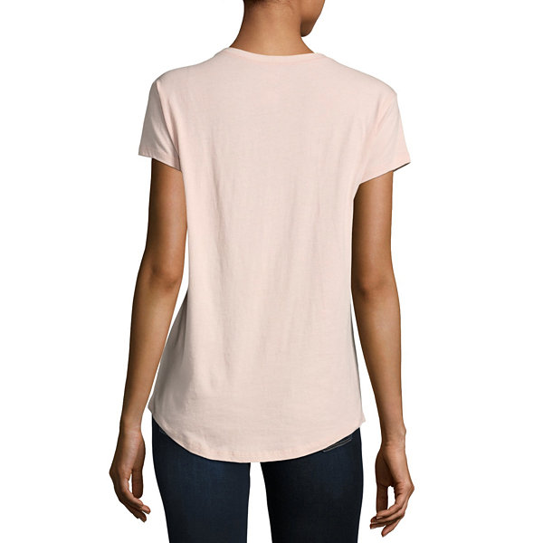 City Streets Short Sleeve Scoop Neck T-Shirt-Womens
