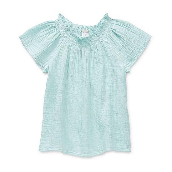 Arizona Little & Big Girls Round Neck Short Sleeve Blouse
