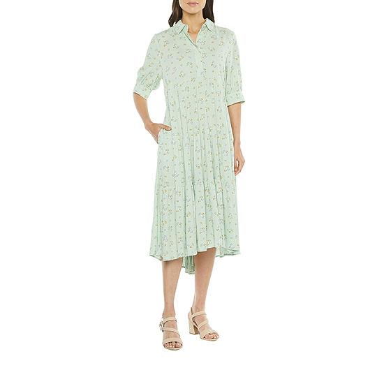a.n.a-Tall Short Sleeve High-Low Shirt Dress