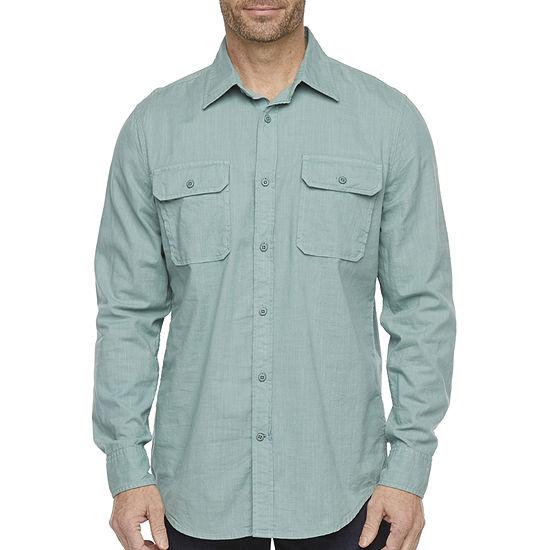 St. John's Bay Outdoor Mens Long Sleeve Button-Down Shirt