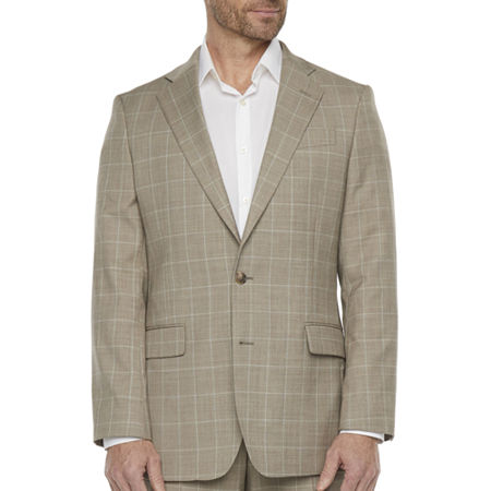 1960s Men's Clothing Stafford Mens Windowpane Stretch Classic Fit Suit Jacket 44 Short Beige $157.50 AT vintagedancer.com