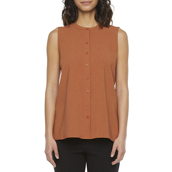 Liz Claiborne Womens Crew Neck Sleeveless Tunic Top