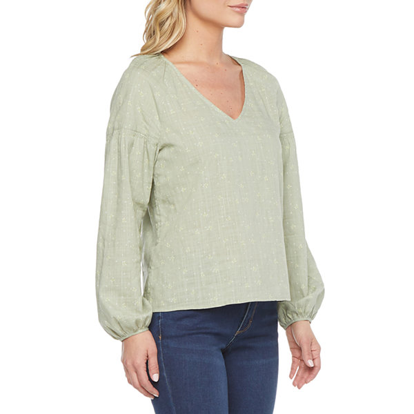 a.n.a. Womens V Neck Long Sleeve Slubbed Blouse