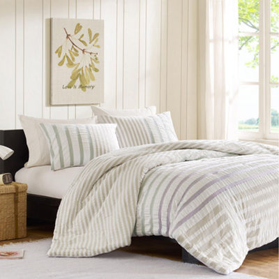 INK+IVY Sutton White Striped Comforter Set