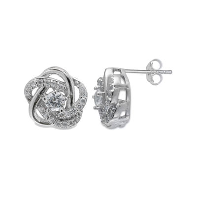 Silver Enchantment™ Cubic Zirconia Sterling Silver Love Knot Earrings