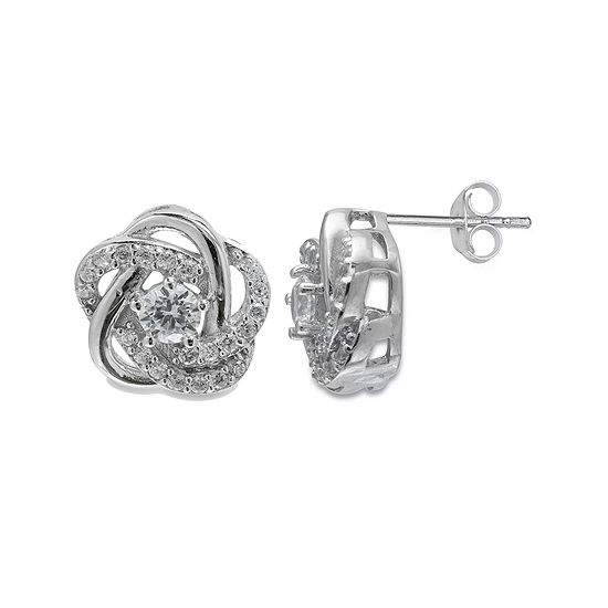 gold love knot p in stud t ct earrings v w diamond tw