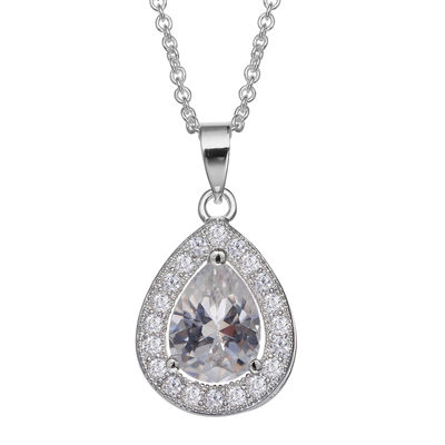 Silver Enchantment™ Cubic Zirconia Sterling Silver Teardrop Pendant Necklace