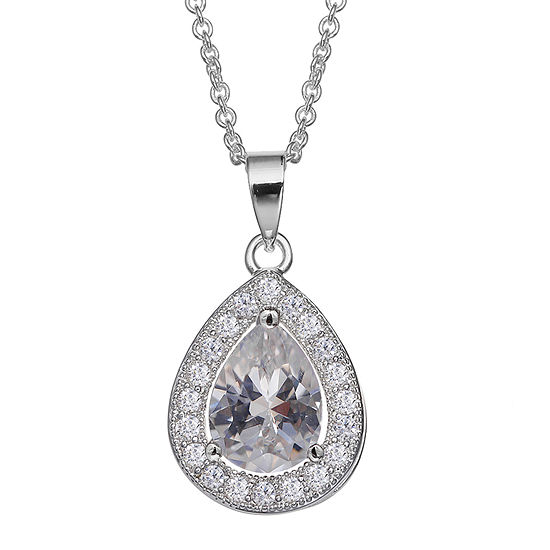 Silver Enchantment Cubic Zirconia Sterling Silver Teardrop Pendant Necklace