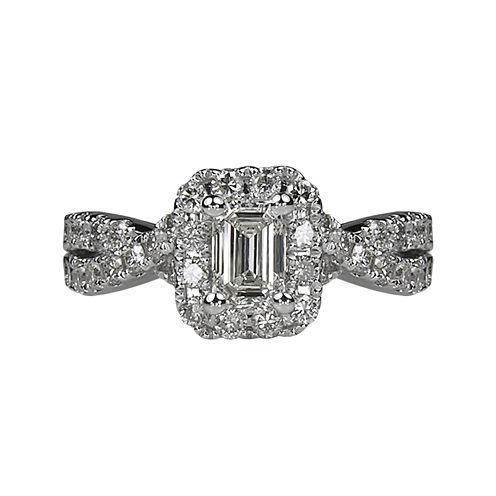 LIMITED QUANTITIES 1½ CT. T.W. Emerald-Cut Diamond Criss-Cross Sides 14K White Gold Engag