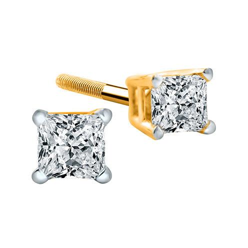 1/4 CT. T.W. Diamond 14K Yellow Princess-Cut Stud Earrings