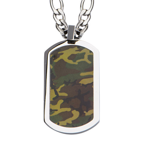 Inox® Jewelry Mens Camo Dog Tag Stainless Steel Pendant Necklace
