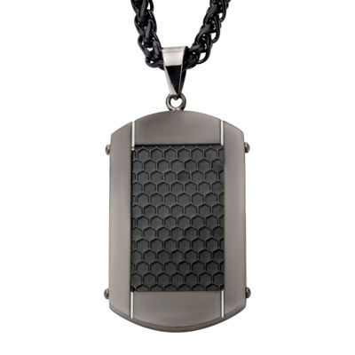 Inox® Jewelry Mens Textured Stainless Steel & Black IP Dog Tag Pendant Necklace