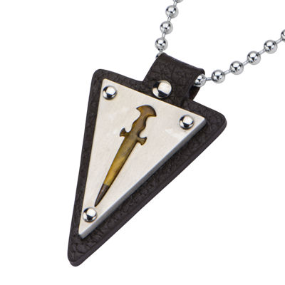 Inox® Jewelry Mens Genuine Tiger's Eye, Leather & Stainless Steel Sword Pendant