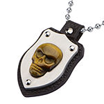 Inox® Jewelry Mens Genuine Tiger's Eye Skull Shield Pendant