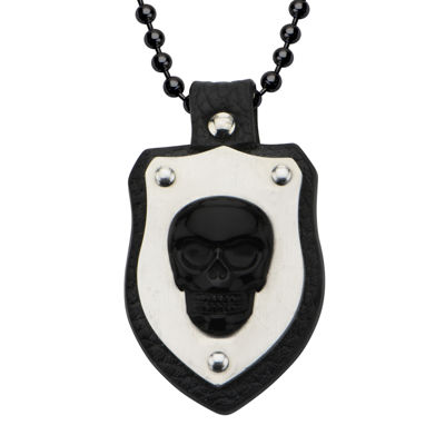 Inox® Jewelry Mens Genuine Onyx Skull and Leather Stainless Steel Shield Pendant