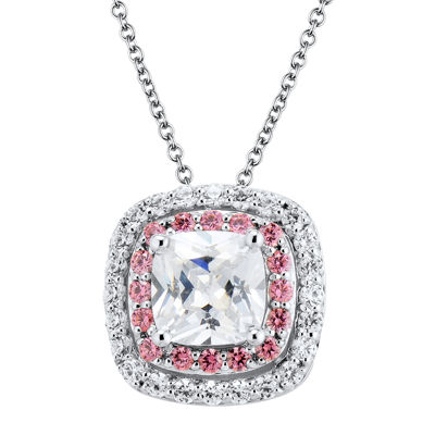 DiamonArt® Pink and White Cubic Zirconia Sterling Silver Pendant Necklace